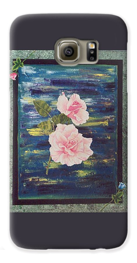 Rose Galaxy S6 Case featuring the painting Roses by Micah Guenther