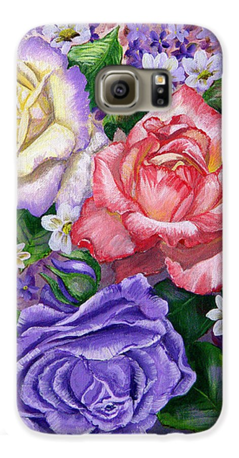 Rose Galaxy S6 Case featuring the painting Roses by Quwatha Valentine