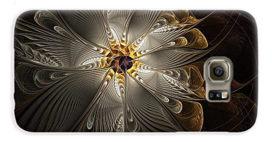Digital Art Galaxy S6 Case featuring the digital art Rosette In Gold And Silver by Amanda Moore