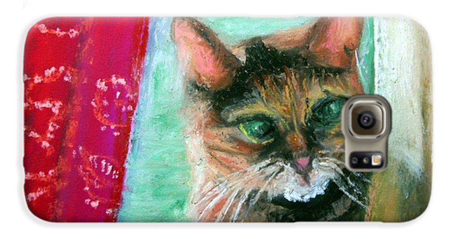 Cat Galaxy S6 Case featuring the painting Rosy In Color by Minaz Jantz