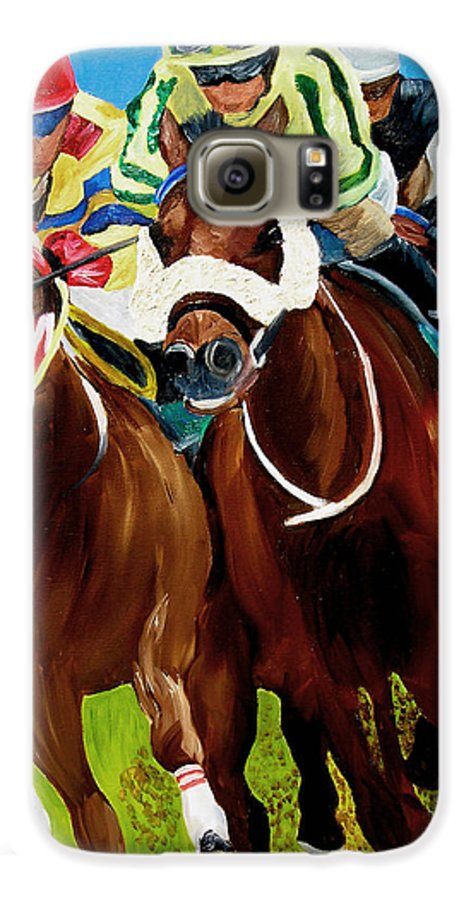 Horse Racing Galaxy S6 Case featuring the painting Rounding The Bend by Michael Lee