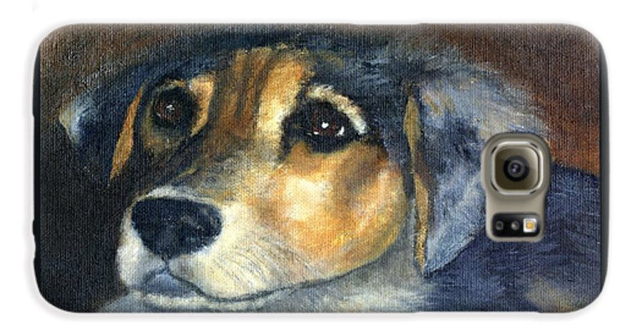 Dog Galaxy S6 Case featuring the painting Roxie by Gail Kirtz
