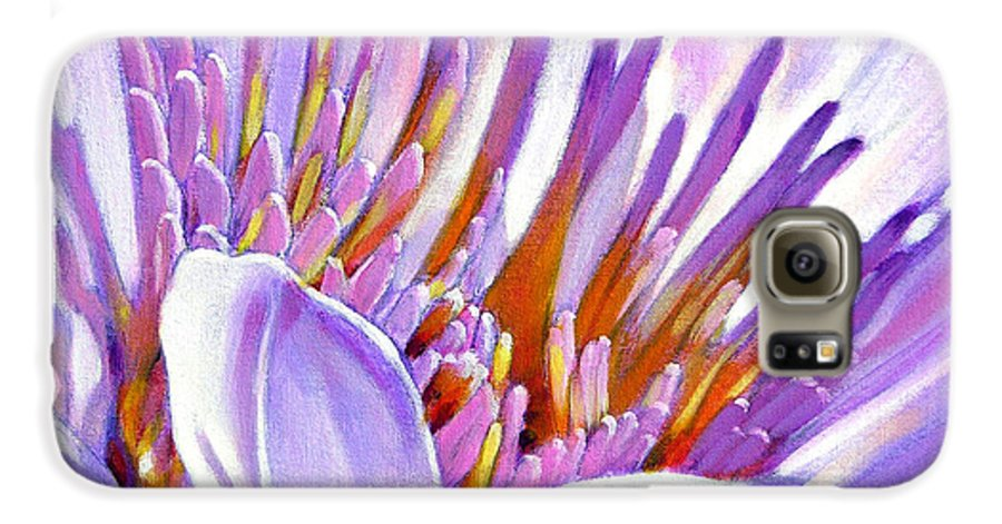 Water Lily Galaxy S6 Case featuring the painting Royal Purple And Gold by John Lautermilch