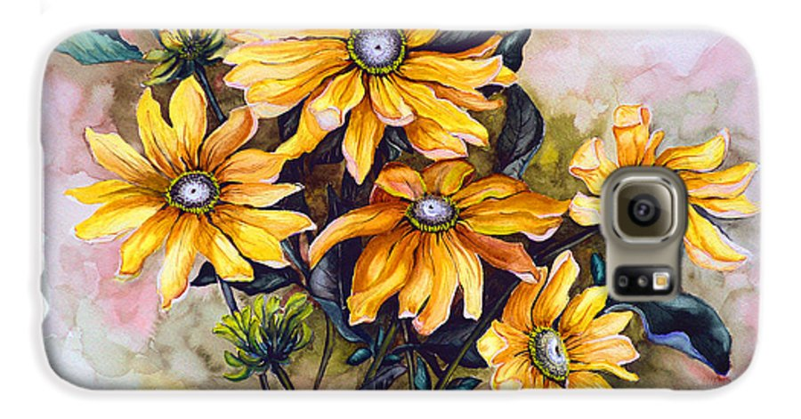 Flower Painting Sun Flower Painting Flower Botanical Painting  Original Watercolor Painting Rudebeckia Painting Floral Painting Yellow Painting Greeting Card Painting Galaxy S6 Case featuring the painting Rudbeckia Prairie Sun by Karin Dawn Kelshall- Best
