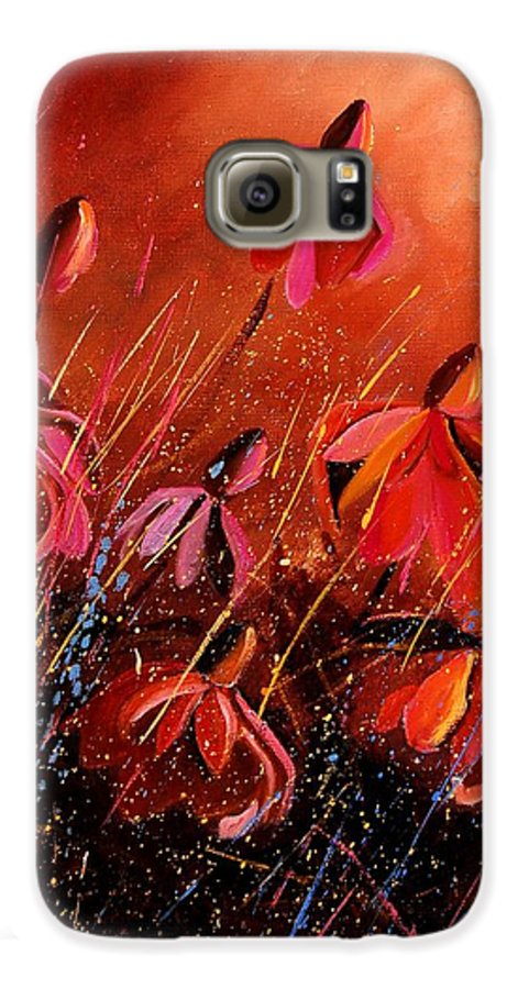 Poppies Galaxy S6 Case featuring the painting Rudbeckia's 45 by Pol Ledent