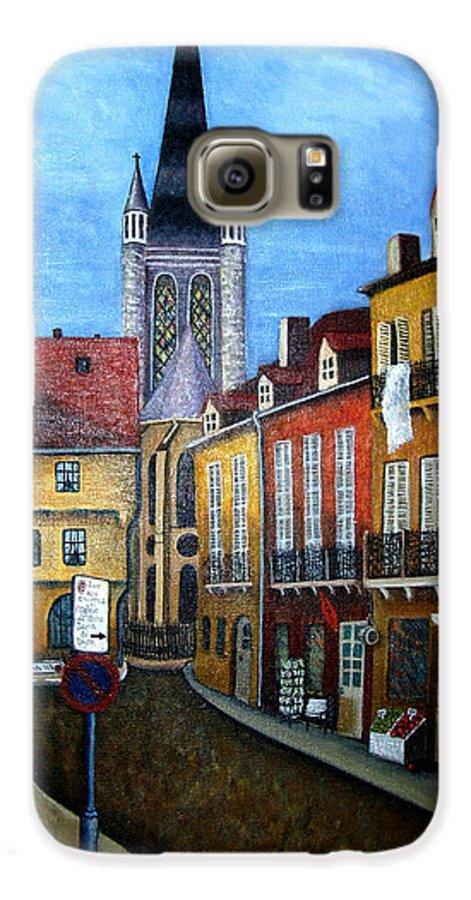 Street Scene Galaxy S6 Case featuring the painting Rue Lamonnoye In Dijon France by Nancy Mueller