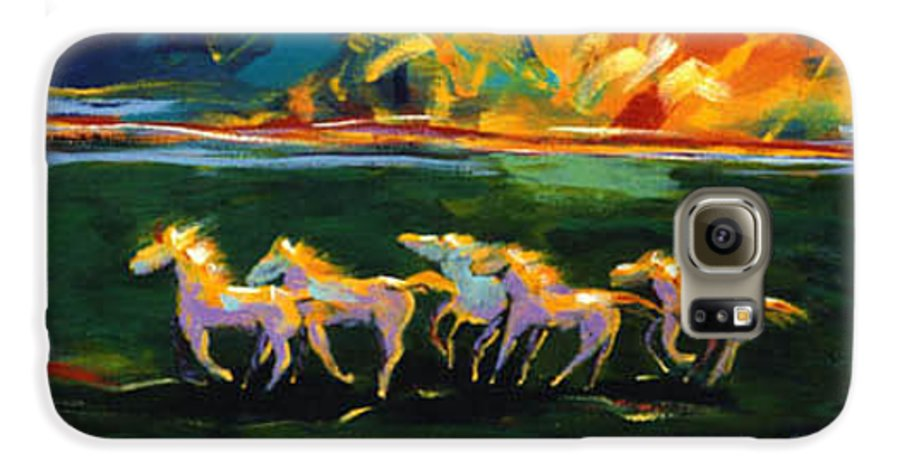 Abstract Horse Galaxy S6 Case featuring the painting Run From The Sun by Lance Headlee