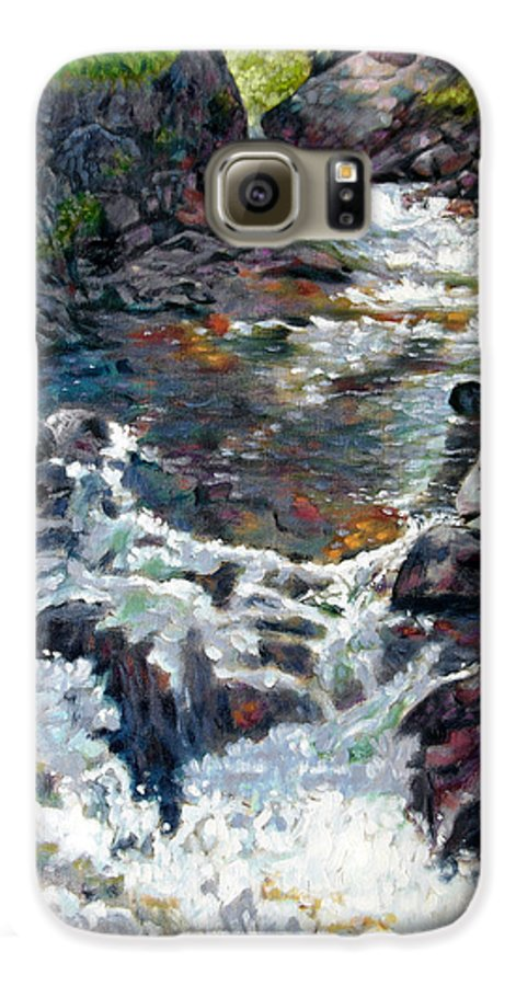 A Fast Moving Stream In Colorado Rocky Mountains Galaxy S6 Case featuring the painting Rushing Waters by John Lautermilch
