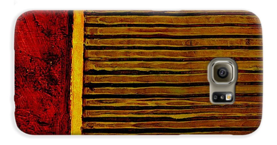 Rustic Galaxy S6 Case featuring the painting Rustic Abstract One by Michelle Calkins