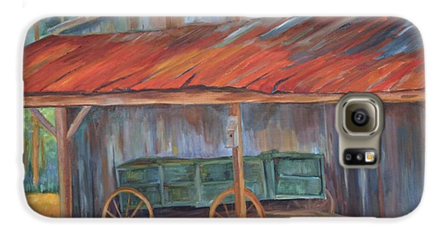 Old Wagons Galaxy S6 Case featuring the painting Rustification by Ginger Concepcion