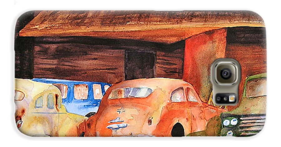 Car Galaxy S6 Case featuring the painting Rusting by Karen Stark