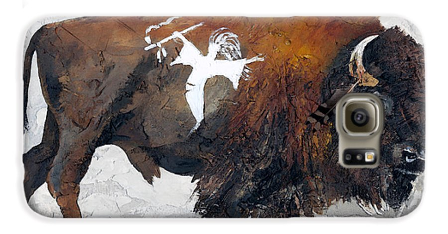 Southwest Art Galaxy S6 Case featuring the painting Sacred Gift by J W Baker
