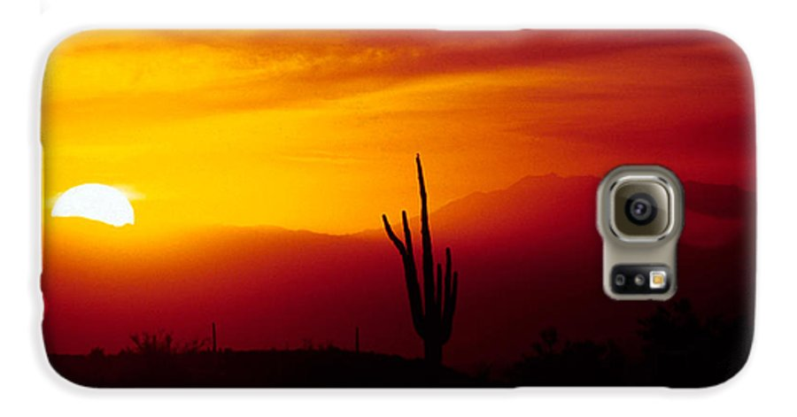 Arizona Galaxy S6 Case featuring the photograph Saguaro Sunset by Randy Oberg