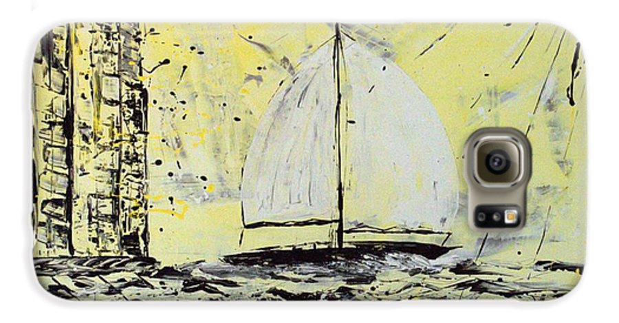 Abstract Galaxy S6 Case featuring the painting Sail And Sunrays by J R Seymour