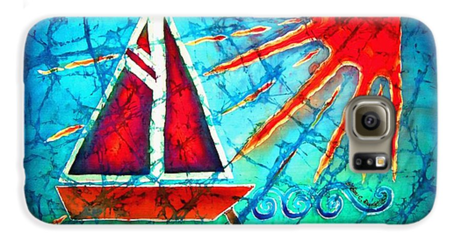 Sailboat Galaxy S6 Case featuring the painting Sailboat In The Sun by Sue Duda