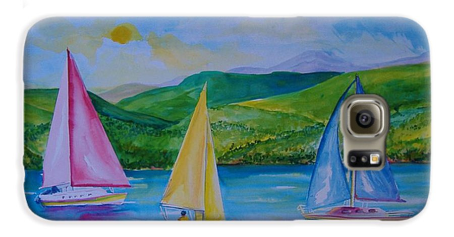 Sailboats Galaxy S6 Case featuring the painting Sailboats by Laura Rispoli