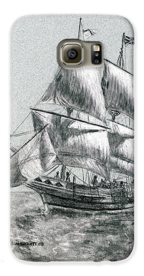 Seascape Galaxy S6 Case featuring the drawing Sailing by Michael Beckett