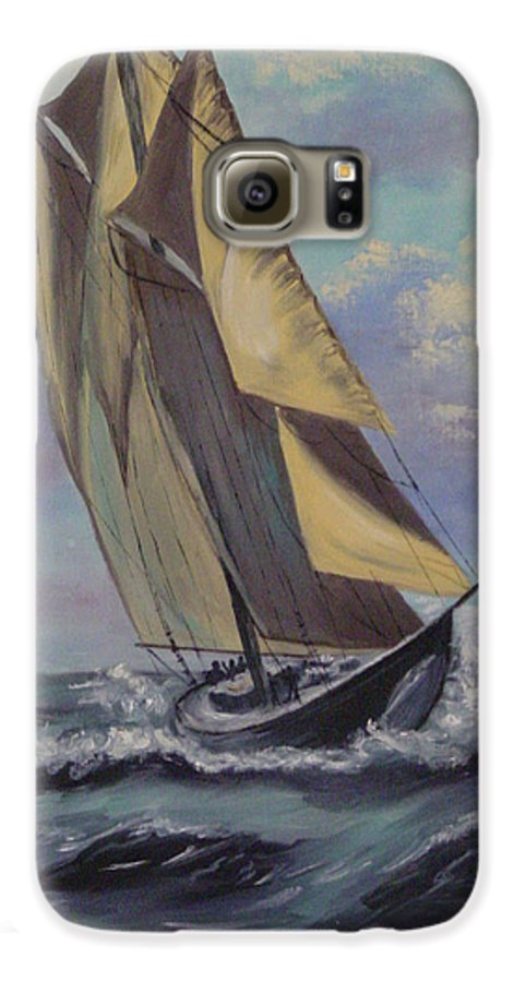 Ocean Galaxy S6 Case featuring the painting Sailing by Quwatha Valentine