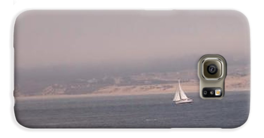 Sailing Sail Sailboat Boating Boat Ocean Pacific Bay Sea Seascape Nature Outdoors Marine Beach Galaxy S6 Case featuring the photograph Sailing Solo by Pharris Art