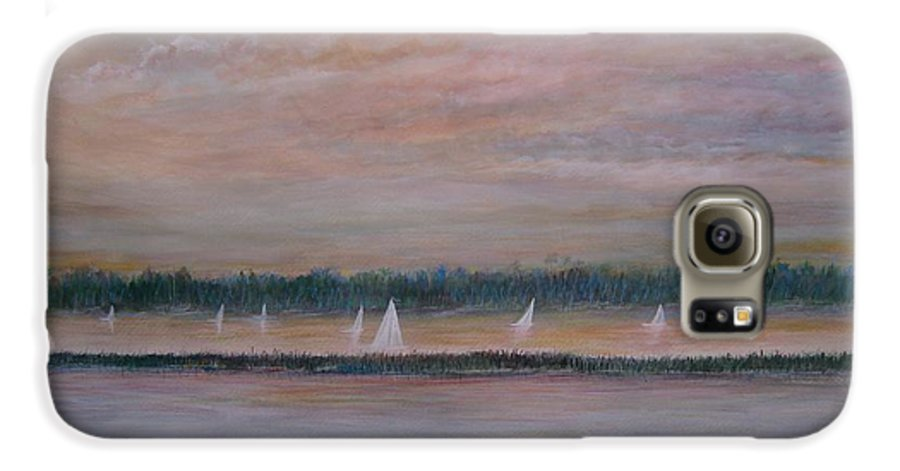 Sailboats; Marsh; Sunset Galaxy S6 Case featuring the painting Sails In The Sunset by Ben Kiger