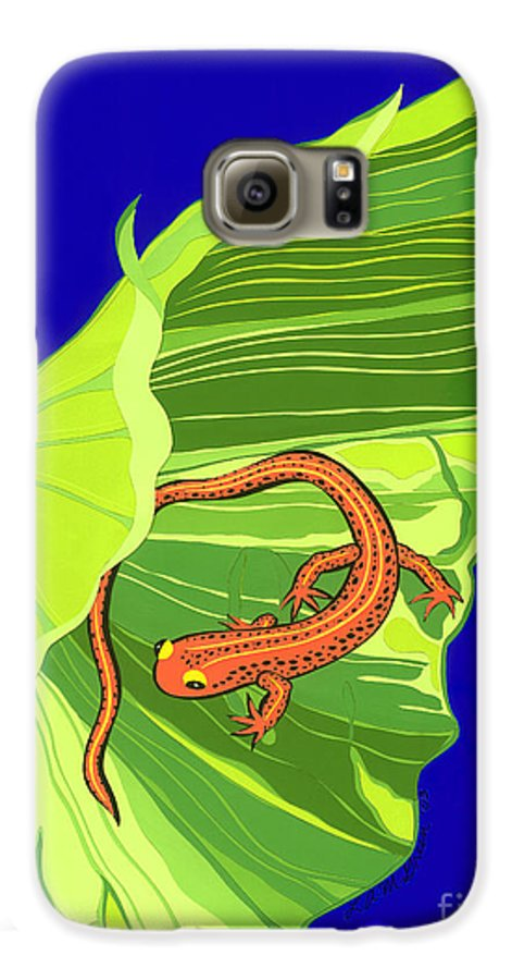 Nature Galaxy S6 Case featuring the drawing Salamander by Lucyna A M Green