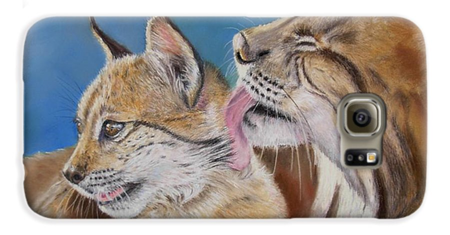 Iberian Lynx Galaxy S6 Case featuring the painting Saliega Y Brezo by Ceci Watson