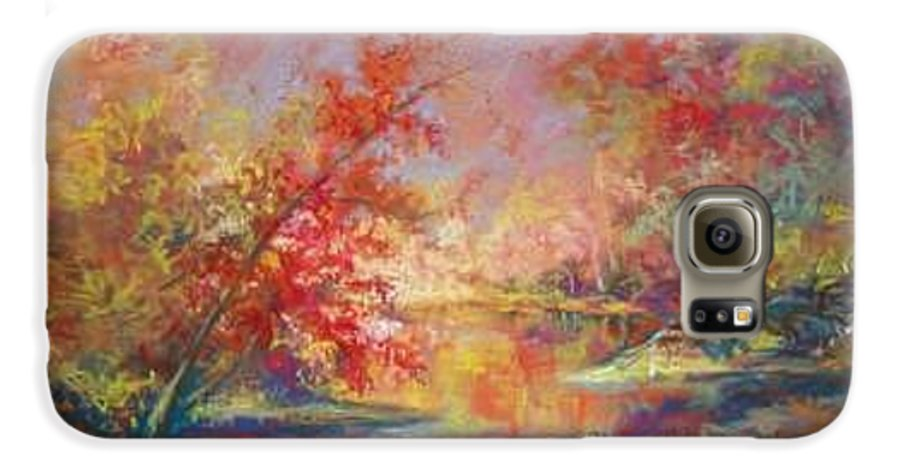 Landscape In Autumn Galaxy S6 Case featuring the painting Saline River View by Marlene Gremillion