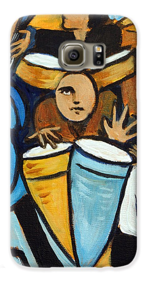 Cubist Salsa Dancers Galaxy S6 Case featuring the painting Salsa Night by Valerie Vescovi