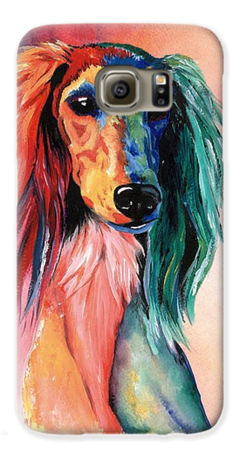 Saluki Galaxy S6 Case featuring the painting Saluki Sunset by Kathleen Sepulveda