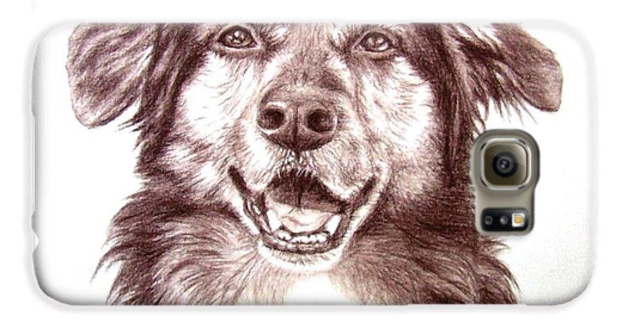 Dog Galaxy S6 Case featuring the drawing Sam by Nicole Zeug