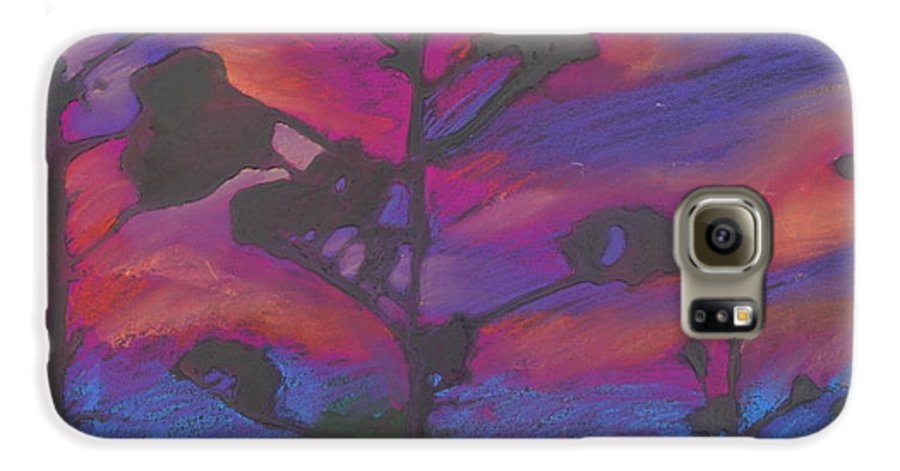 Contemporary Tree Landscape Galaxy S6 Case featuring the mixed media San Diego Sunset by Leah Tomaino
