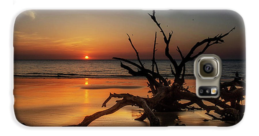 Chrystal Mimbs Galaxy S6 Case featuring the photograph Sand Surf And Driftwood by Chrystal Mimbs