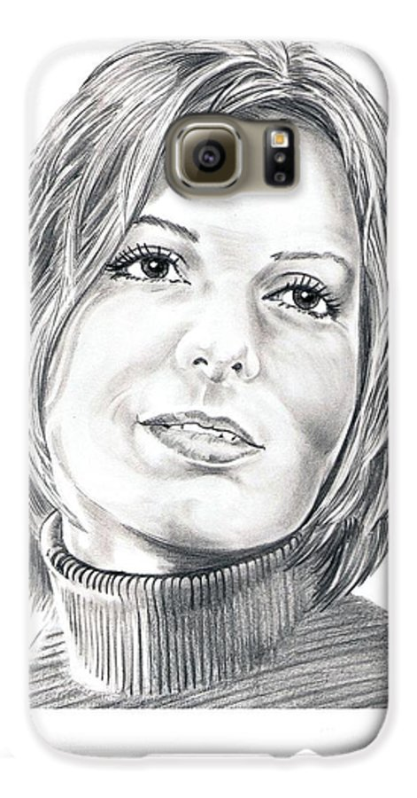 Drawing Galaxy S6 Case featuring the drawing Sandra Bullock by Murphy Elliott