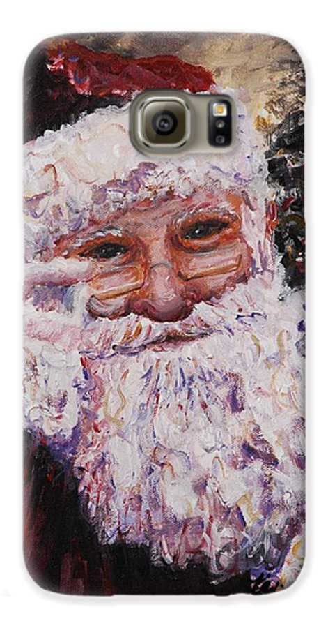 Santa Galaxy S6 Case featuring the painting Santa Chat by Nadine Rippelmeyer