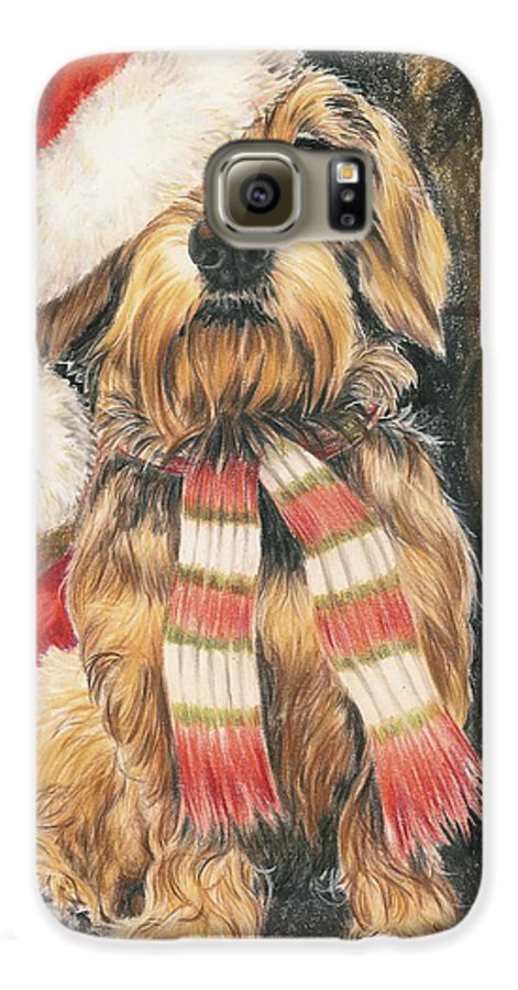 Dogs Galaxy S6 Case featuring the drawing Santas Little Yelper by Barbara Keith