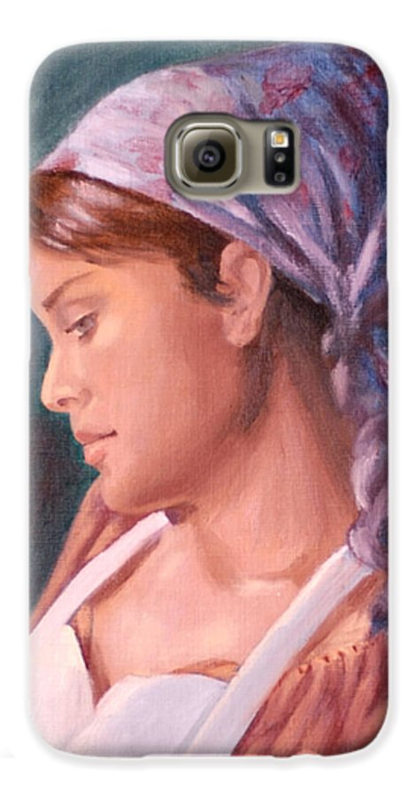 Maid Galaxy S6 Case featuring the painting Sarah The Kitchen Maid After Johnnie Liliedahl by Quwatha Valentine