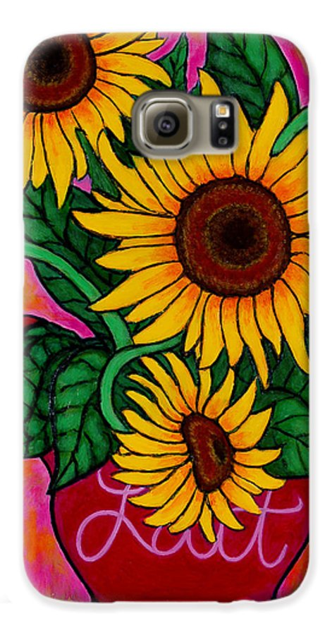 Sunflowers Galaxy S6 Case featuring the painting Saturday Morning Sunflowers by Lisa Lorenz