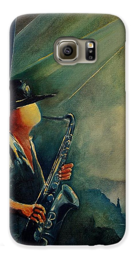 Music Galaxy S6 Case featuring the painting Sax Player by Pol Ledent