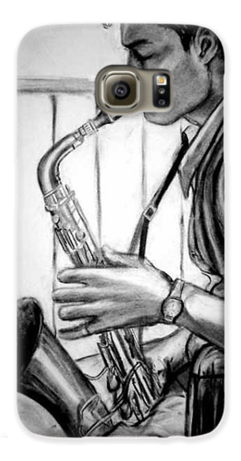 Handsome Man Galaxy S6 Case featuring the drawing Saxophone Player by Laura Rispoli