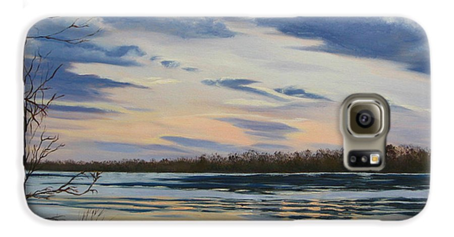 Clouds Galaxy S6 Case featuring the painting Scenic Overlook - Delaware River by Lea Novak