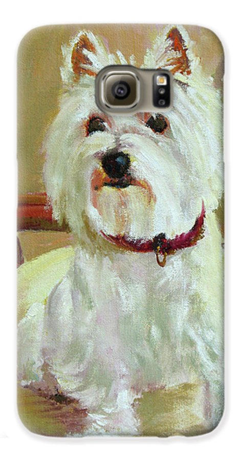 Pet Galaxy S6 Case featuring the painting Schatzie by Keith Burgess