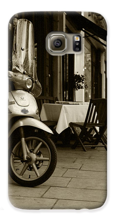 Scooter Galaxy S6 Case featuring the photograph Scooter Cafe by Ayesha Lakes
