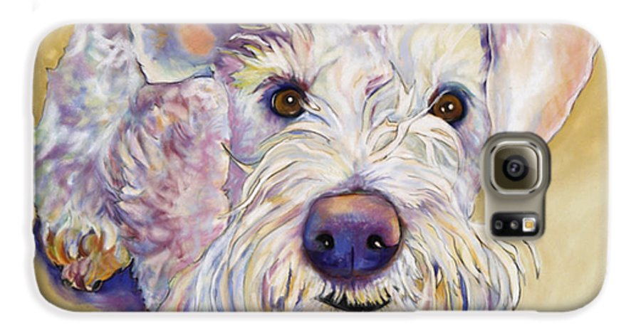 Schnauzer Galaxy S6 Case featuring the pastel Scooter by Pat Saunders-White