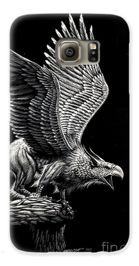 Griffon Galaxy S6 Case featuring the drawing Screaming Griffon by Stanley Morrison