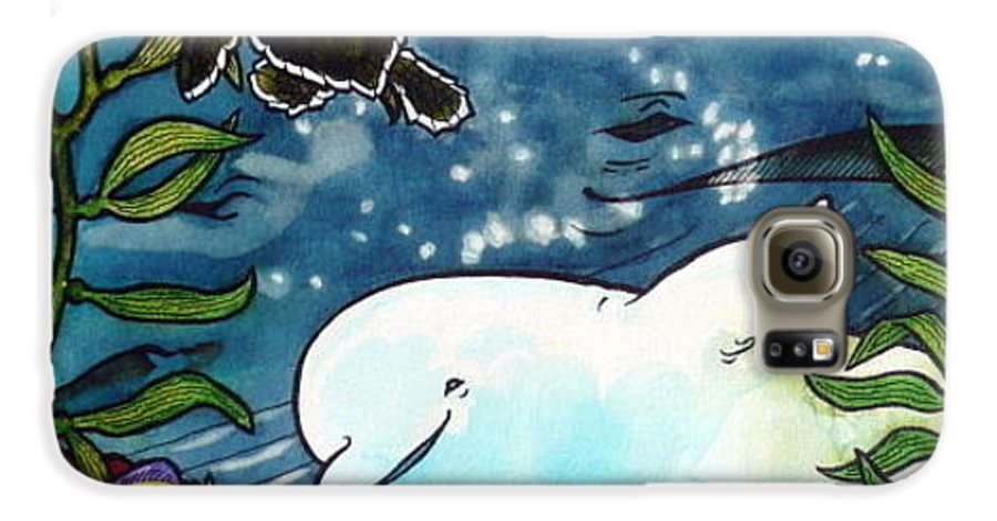 Whale Galaxy S6 Case featuring the painting Sea Fun by Jill Iversen