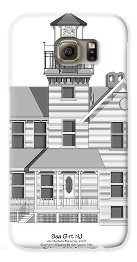 Lighthouse Galaxy S6 Case featuring the painting Sea Girt New Jersey Architectural Drawing by Anne Norskog