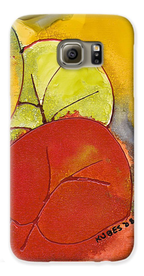 Leaf Galaxy S6 Case featuring the painting Sea Grapes by Susan Kubes