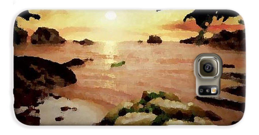 Landscape.coast.shore.trees.stones.sand.water.sunset Reflection.silence.rest.sun.sky. Galaxy S6 Case featuring the digital art Sea Shore.sunset by Dr Loifer Vladimir