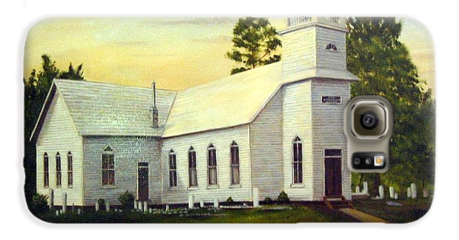 Church Galaxy S6 Case featuring the painting Seaford Zion Methodist Church by Anne Kushnick