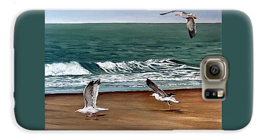 Seascape Galaxy S6 Case featuring the painting Seagulls 2 by Natalia Tejera